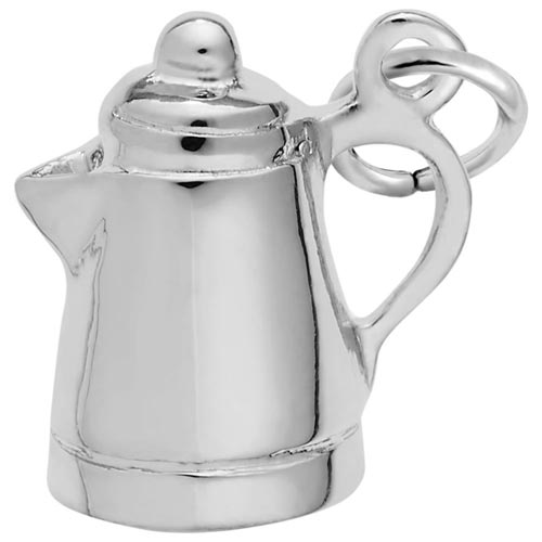 14K White Gold Espresso Pot Charm by Rembrandt Charms