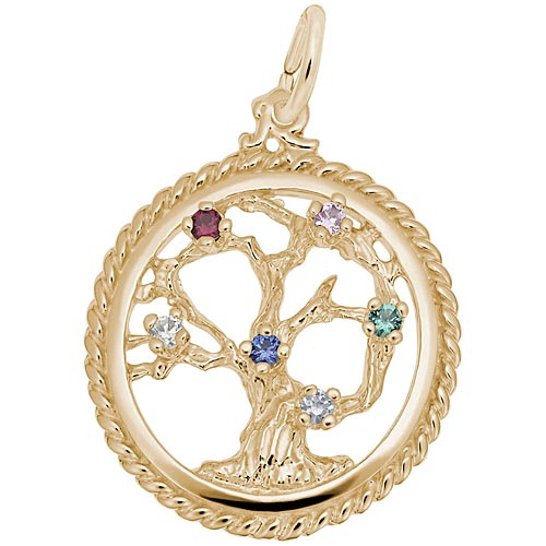 Gold Plate Tree of Life Charm Select Stones by Rembrandt Charms