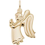 Gold Plate Flat Praying Angel Girl Charm by Rembrandt Charms