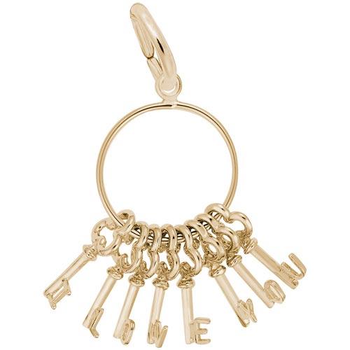 14k Gold I Love You Skeleton Key's Charm