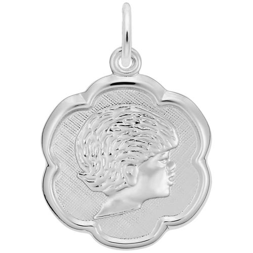 14K White Gold Girls Head Scalloped Disc Charm by Rembrandt Charms
