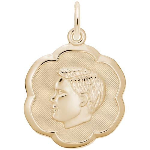 Gold Plate Boy's Head Scalloped Disc Charm by Rembrandt Charms