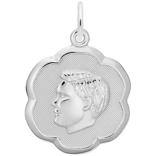 14K White Gold Boy's Head Scalloped Disc Charm by Rembrandt Charms