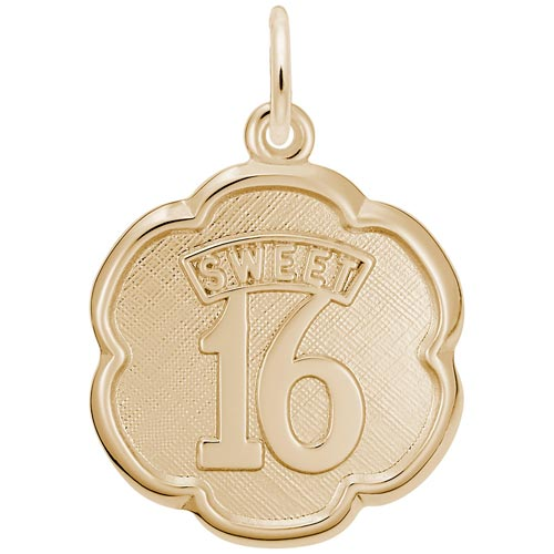 10K Gold Sweet Sixteen Scalloped Disc by Rembrandt Charms