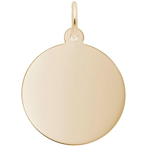 Gold Plate Med-Round Classic Disc Charm by Rembrandt Charms