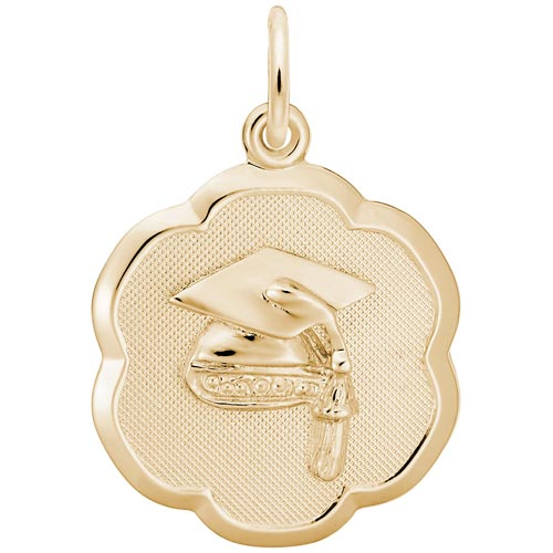 14k Gold Grad Cap Scalloped Disc Charm by Rembrandt Charms