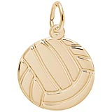 Gold Plate Flat Volleyball Charm by Rembrandt Charms