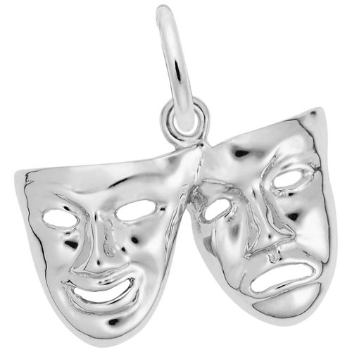 14K White Gold Comedy and Tragedy Mask Charm by Rembrandt Charms