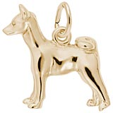Gold Plate Basenji Dog Charm by Rembrandt Charms