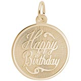 14K Gold Happy Birthday Disc Charm