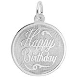14K White Gold Happy Birthday Disc Charm