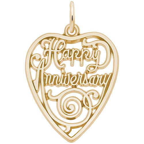 14K Gold Happy Anniversary Heart Charm
