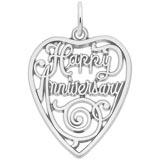 14K White Gold Happy Anniversary Heart Charm