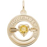 Gold Plated 11 Nov Month of Love Charm by Rembrandt Charms