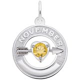 14k White Gold 11 Nov Month of Love Charm by Rembrandt Charms