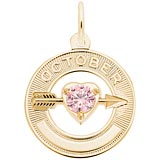 14k Gold October Month of Love Charm