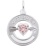 14k White Gold October Month of Love Charm