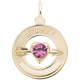 Gold Plated 06 Jun Month of Love Charm by Rembrandt Charms