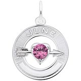 14k White Gold 06 Jun Month of Love Charm by Rembrandt Charms