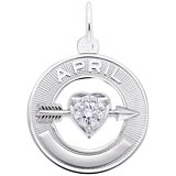 14k White Gold 04 Apr Month of Love Charm by Rembrandt Charms