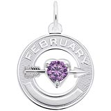 14k White Gold 02 Feb Month of Love Charm by Rembrandt Charms