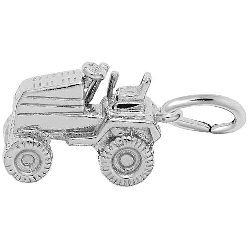 14K White Gold Riding Lawn Mower Charm by Rembrandt Charms