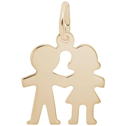14k Gold Boy and Girl Holding Hands Charm by Rembrandt Charms