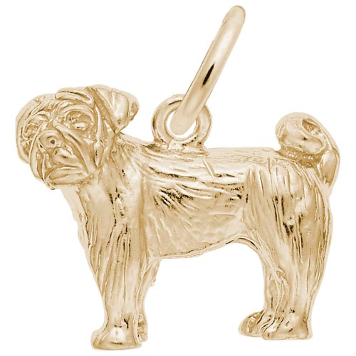14K Gold Pug Dog Charm by Rembrandt Charms