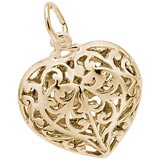 Gold Plated Filigree Heart Charm by Rembrandt Charms