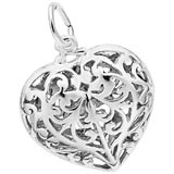14K White Gold Filigree Heart Charm by Rembrandt Charms