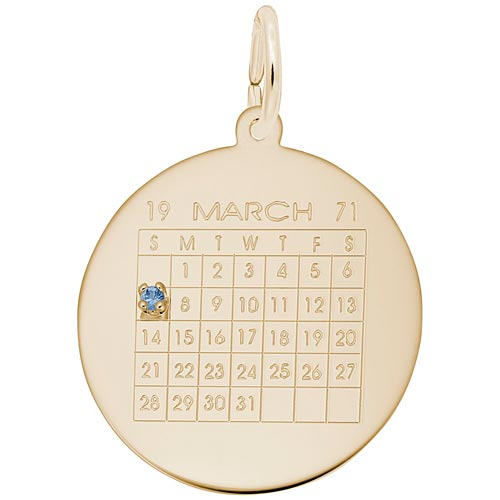 Gold Plate Birthstone Calendar Charm by Rembrandt Charms