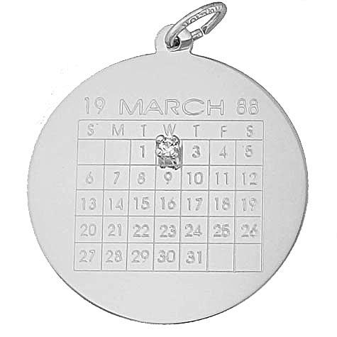 Sterling Silver Diamond Calendar Charm by Rembrandt Charms