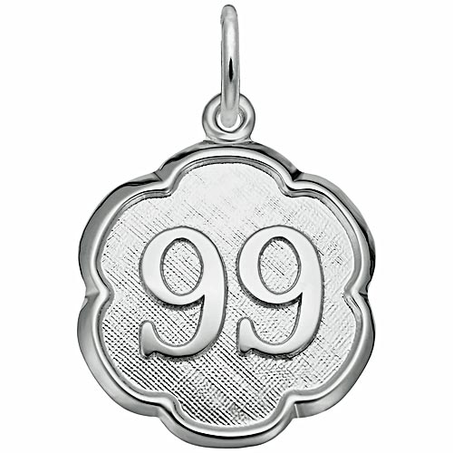 14K White Gold Any Number Disc 1-99 Charm by Rembrandt Charms