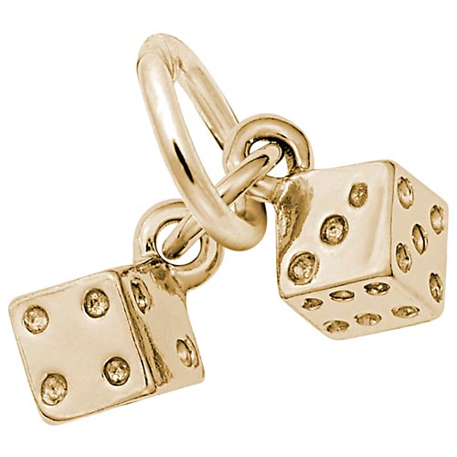 Gold Plate Dice Accent Charm by Rembrandt Charms