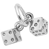 14K White Gold Dice Accent Charm by Rembrandt Charms