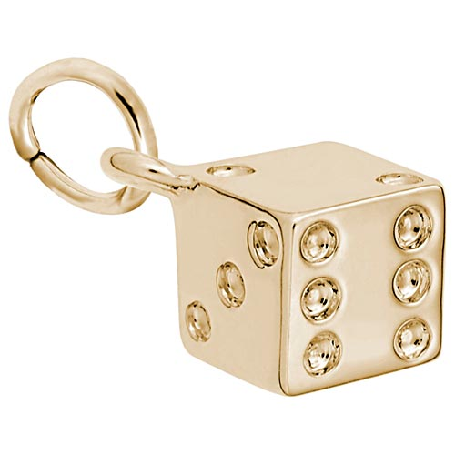 Gold Plate Dice Charm by Rembrandt Charms