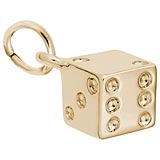10K Gold Dice Charm by Rembrandt Charms