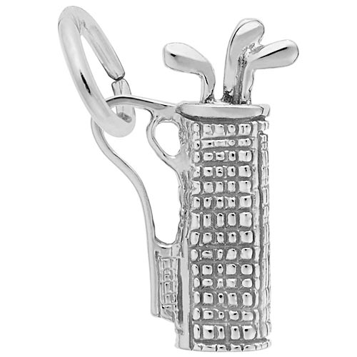 14K White Gold Plaid Golf Bag Charm by Rembrandt Charms