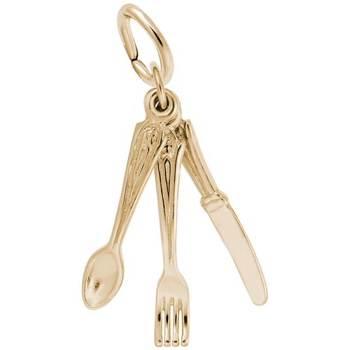 10K Gold Eating Utensils Charm by Rembrandt Charms