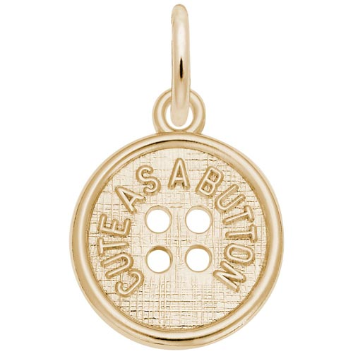 Gold Plated Cute as a Button Charm by Rembrandt Charms