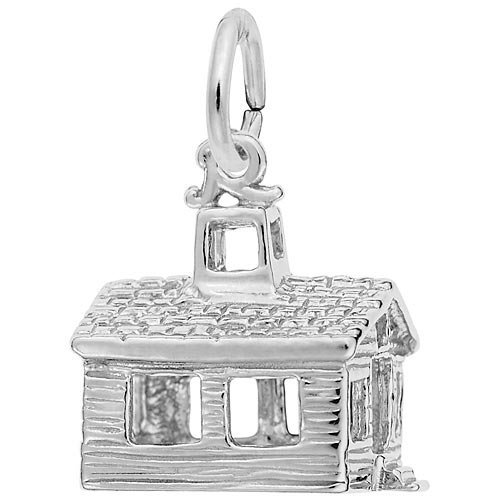 14K White Gold School House Charm by Rembrandt Charms