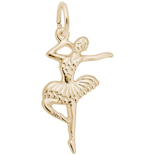 Gold Plate Ballet Dancer with Tutu Charm by Rembrandt Charms
