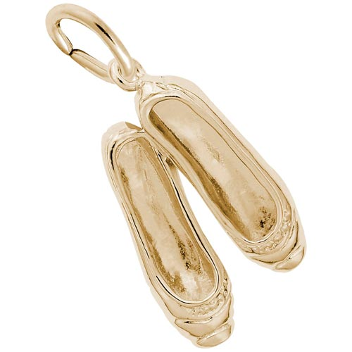Gold Plate Ballet Slippers Charm by Rembrandt Charms