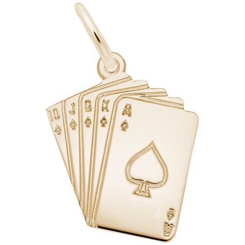 Gold Plate Royal Flush Charm by Rembrandt Charms