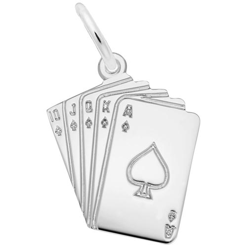14K White Gold Royal Flush Charm by Rembrandt Charms