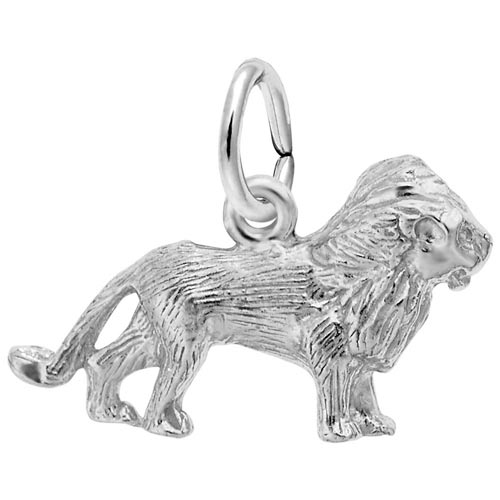 14K White Gold Lion Accent Charm by Rembrandt Charms