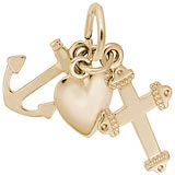 Rembrandt Faith, Hope, and Charity Charm, 14K Yellow Gold