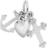 14K White Gold Faith, Hope, and Charity Charm by Rembrandt Charms