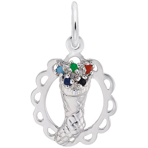 14K White Gold Stocking Full of Joy Charm by Rembrandt Charms