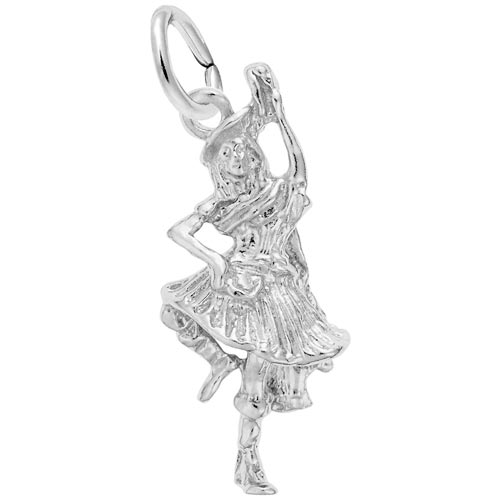14K White Gold Highland Dancer Charm by Rembrandt Charms